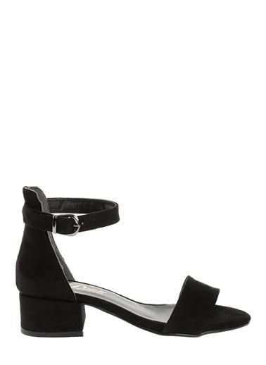 Derigo Siyah Süet Kadın Topuklu Sandalet 19639 Siyah